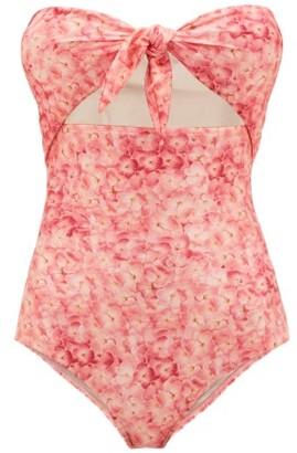 Adriana Degreas Tie-front Hydrangea-print Bandeau Swimsuit - Womens - Pink Print