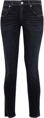 Amo Twist Cropped Distressed Mid-rise Skinny Jeans