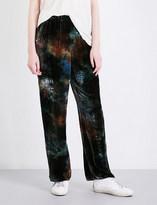 Raquel Allegra Tie-dye velour trousers
