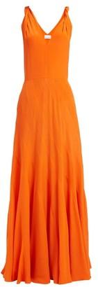 Raey Multi Seam Twist Strap Silk Dress - Womens - Orange