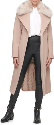 Karl Lagerfeld Paris Belted Wool Blend Coat with Faux Fur Trim