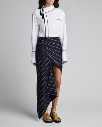 Monse Asymmetric Pinstriped Wrap Skirt