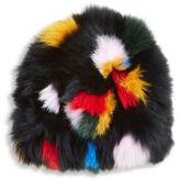 Loeffler Randall Multicolor Fox Fur Tall Hat