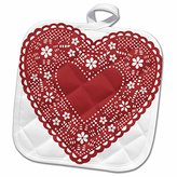 3dRose TNMGraphics Valentines - Lacy Red Valentine - 8x8 Potholder (phl_172568_1)