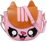 BMC Baby Pink Faux Leather Animal Face Shaped Front Flap Fashion Clutch Handbag