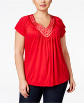 Soprano Trendy Plus Size Embellished V-Neck Top