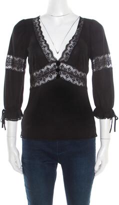 Dolce & Gabbana Black Knit Lace Insert Detail Plunge Neck Top S