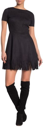 Love...Ady Faux Suede Fringe Hem Dress