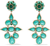Etro Gold-tone, Crystal And Enamel Clip Earrings - Turquoise
