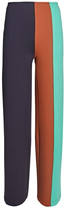 STAUD Connor Colorblocked Knit Wide-Leg Pants