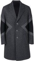 Neil Barrett geometric panelled coat - men - Polyamide/Spandex/Elastane/Cupro/Wool - 46