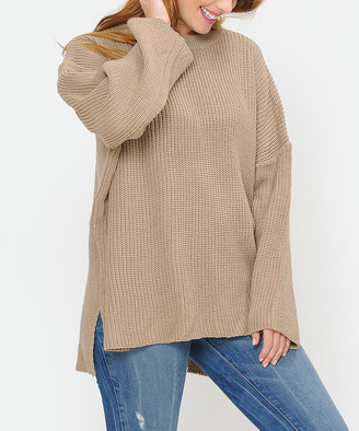 Shamaim Women's Pullover Sweaters taupe - Taupe Crewneck Side-Slit Sweater - Women
