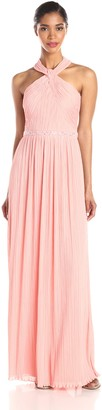 JS Boutique Women's Pleated Halter Gown with Beads
