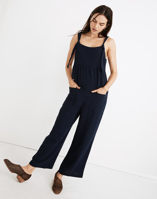 Madewell Gauze Tie-Strap Patch-Pocket Overalls