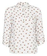 Dorothy Perkins Womens Petite Camel Spot Print Roll Sleeve Shirt