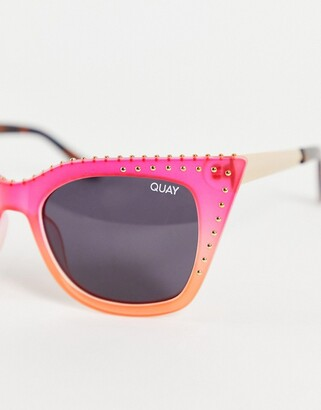 Quay X Saweetie Harper Studded womens cat eye sunglasses in hot coral red