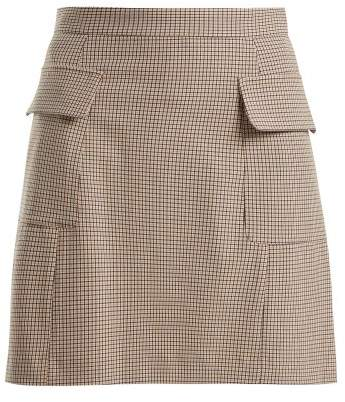 See by Chloe Checked Flap Pocket Mini Skirt - Womens - Beige Multi