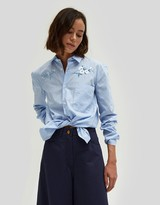 Flower Embroidery w/ Chest Pocket Shirt