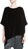 Eileen Fisher Asymmetric Velvet 3/4-Sleeve Poncho, Black, Plus Size