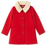Petit Bateau Girls coat in wool broadcloth