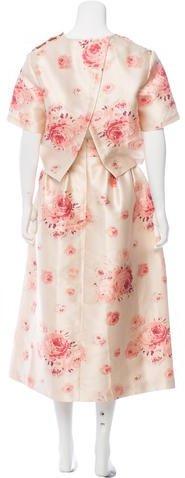 Vilshenko Satin Floral Print Skirt Set