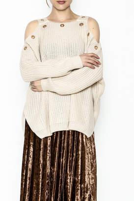 Elan International Grommet Cold Shoulder Sweater