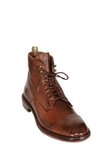 Officine Creative Washed Leather Lace-Up Low Boots