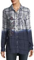 Tolani Emma Long-Sleeve Dip-Dyed Plaid Button-Front Shirt