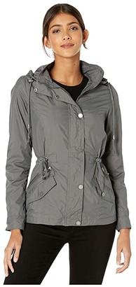 YMI Jeanswear Snobbish Jersey Lined Lightweight Nylon Anorak (Charcoal) Women's Clothing