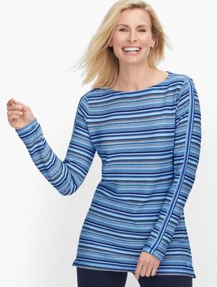 Talbots Textured Stripe Pullover - Ivory Blue