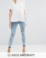 Asos RIDLEY Skinny Jeans in Sebastian Light Acid Wash with Shredded Rips and Let Down Hem With Under the Bump