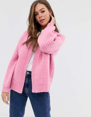 Asos Design DESIGN fluffy chunky cardigan-Pink