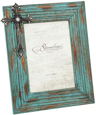 """Stonebriar Collection 5"""" x 7"""" Turquoise Wood Photo Frame"""