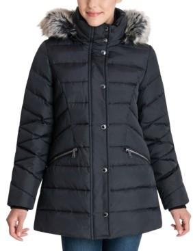 London Fog Petite Faux-Fur-Trim Hooded Puffer Coat