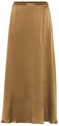 ASCENO Seine silk satin midi skirt