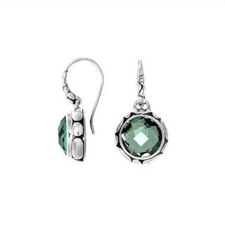 Sterling Arts Handmade Sterling Silver Bali Faceted Round Gemstone Dangle Earrings