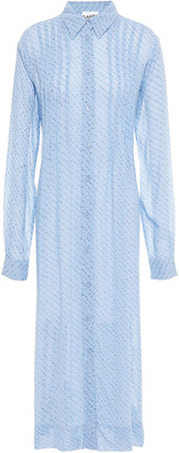 Ganni Pintucked Floral-print Georgette Midi Shirt Dress