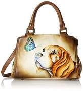Anuschka Anna By Anna by Women's Genuine Leather Small Multicompartment Satchel Shoulder Bag| Hand Painted Original Artwork | Puppy Love One Size