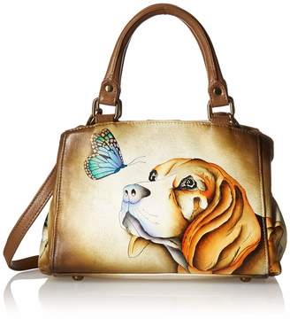 Anuschka Anna By Anna by Women's Genuine Leather Small Multicompartment Satchel Shoulder Bag  Hand Painted Original Artwork   Puppy Love One Size