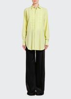 Bottega Veneta Silk Button-Front Shirt w/ Quilted Bib