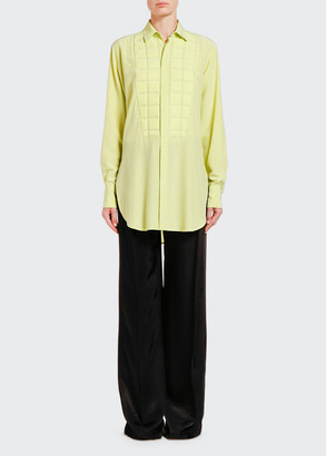 Bottega Veneta Silk Button-Front Shirt w/ Quilted Bib