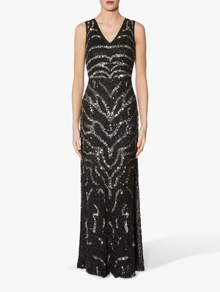 Gina Bacconi Sorsha Beaded Dress, Black/Silver