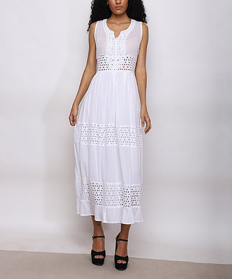 Jessica Taylor Women's Maxi Dresses IVORY - Ivory Embroidered Lace-Tier Sleeveless Notch Neck Maxi Dress - Women & Plus
