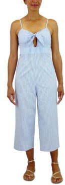 Crystal Doll Juniors' Cotton Tie-Front Striped Jumpsuit
