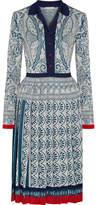 Mary Katrantzou Briscola Pleated Metallic Jacquard-knit Dress - Blue