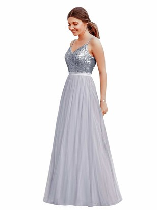 Ever Pretty Ever-Pretty Women's V Neck Floor Length A Line Backless Tulle Sparkle Long Maxi Formal Dresses Orchid 12UK