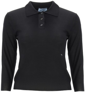 Prada Logo Long-Sleeve Polo Shirt