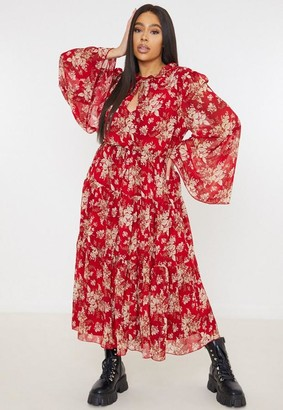 Missguided Plus Size Red Floral Print Keyhole Maxi Dress