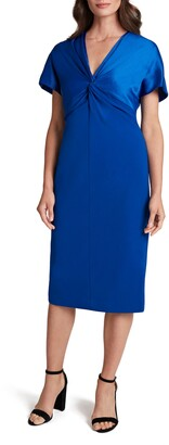 Tahari Twist Front Mixed Media Crepe Sheath Dress