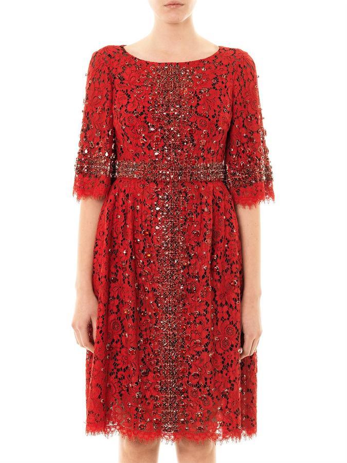 Dolce & Gabbana Embellished-cross lace dress